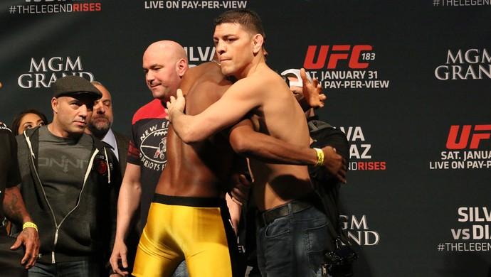 encarada, Anderson Silva e Nick Diaz, UFC 183 (Foto: Evelyn Rodrigues)
