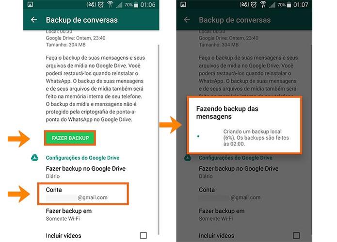 A conta do Google Drive será trocada no WhatsApp para fazer o backup completo (Foto: Reprodução/Barbara Mannara)