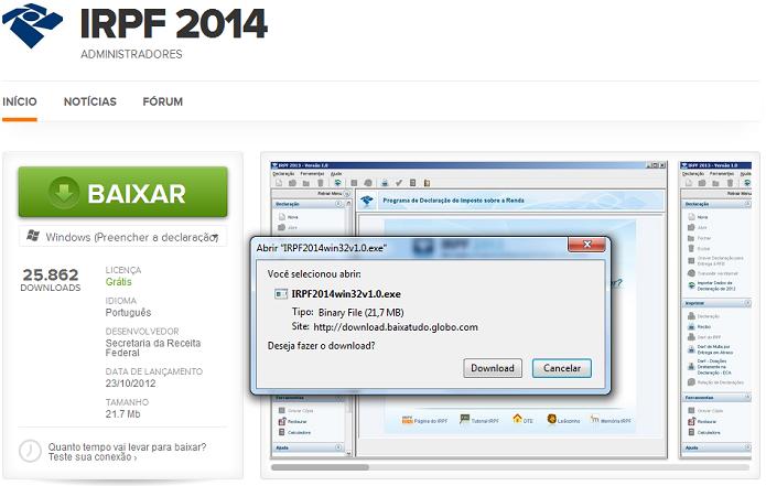 Baixando o IRPF 2014 no TechTudo Downloads (Foto: Reprodução/Edivaldo Brito)