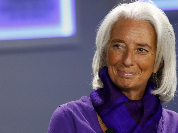 Christine Lagarde, diretora do FMI, sorriu durante encontro anual do Fórum Econômico Mundial, em Davos (Foto: Reuters)