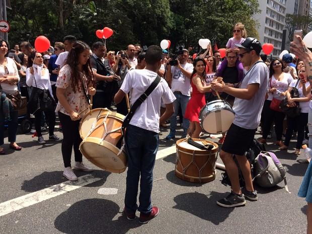 Ato em apoio ao prefeito Fernando Haddad, que perdeu a disputa eleitoral  (Foto: Vivian Reis / G1)