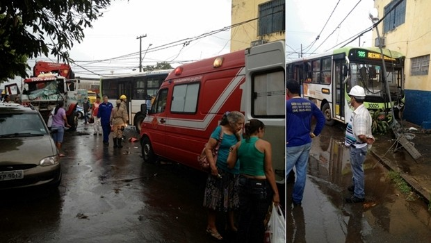 Acidente entre ônibus e caminhão deixa seis feridos, em Goiânia (Foto: Divulgação/Corpo de Bombeiros)