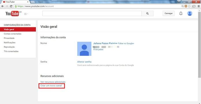 """Clique em """"Criar um novo canal"""" (Foto: Reprodução/Juliana Pixinine)"""