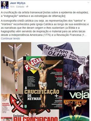 """O deputado federal Jean Wyllys escreveu texto sobre transexual """"crucificada"""" (Foto: Reprodução/Facebook)"""