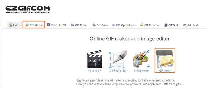 Acesse o site EZGIF para iniciar a edição do GIF pelo computador (Foto: Reprodução/Barbara Mannara)