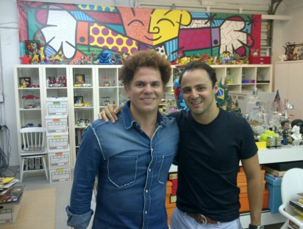 Felipe Massa e Romero Britto em Miami, nos EUA (Foto: Reprodução)