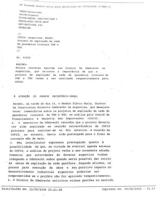 Telegrama - Itamaraty Buenos Aires (Foto: Reprodução)