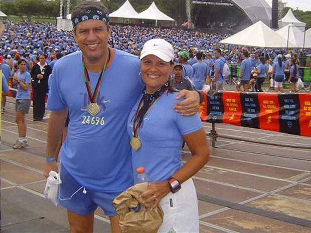 Kia e Marcos sempre participam de corridas em Salvador, no Brasil e pelo mundo. (Foto: Arquivo Pessoal)