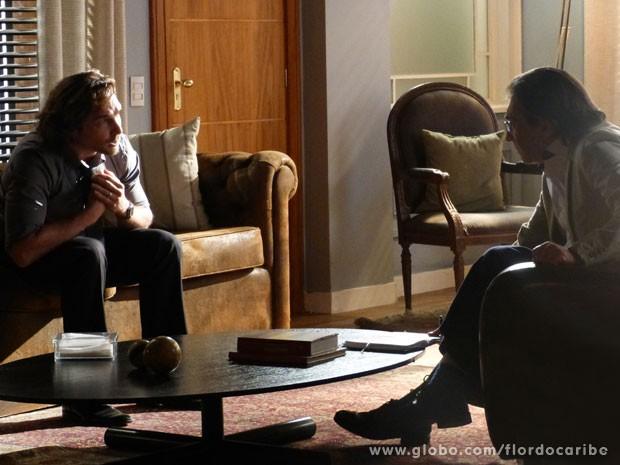 Alberto diz a psiquiatra que não consegue viver sem Ester (Foto: Flor do Caribe/TV Globo)