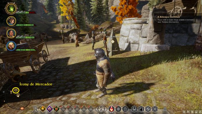 Dragon Age: Inquisition: localize um mercador através de seu ícone no minimapa (Foto: Reprodução/Paulo Vasconcellos)