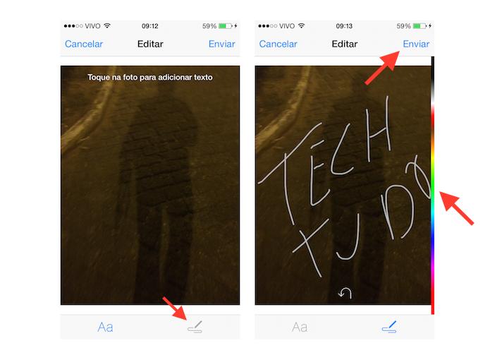 Utilizando a ferramenta de rascunho em fotos do Facebook Messenger do iOS (Foto: Reprodução/Marvin Costa)