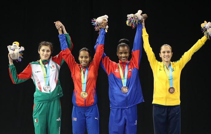 Iris Sing Silva taekwondo bronze Pan Toronto 2015 podio (Foto: Tom Szczerbowski-USA TODAY Sports)