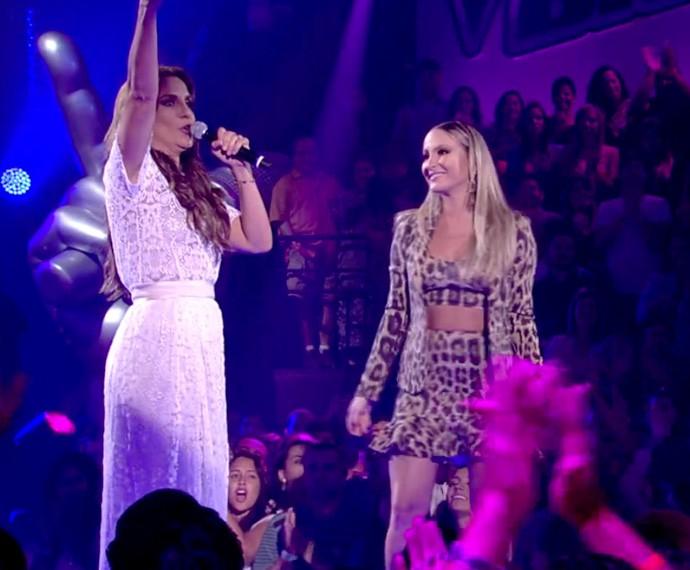 Claudia Leitte e Ivete Sangalo deram um show na primeira edição do The Voice (Foto: Globo)