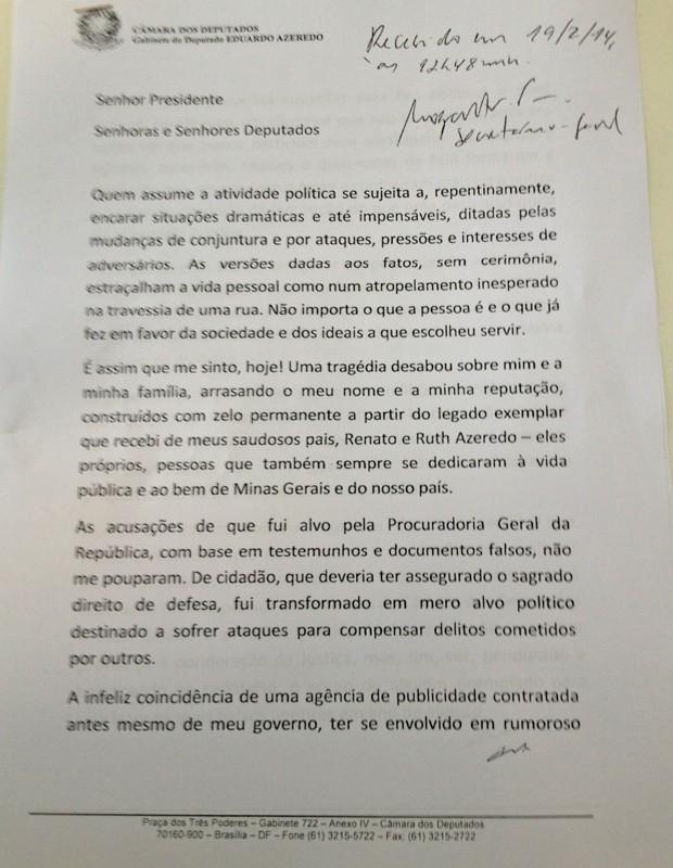 A carta de renúncia de Eduardo Azeredo (Foto: Reprodução)