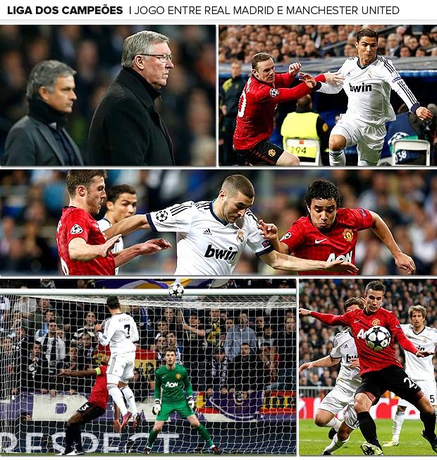 Galeria jogo Real Madrid e Manchester United mosaico (Foto: Editoria de Arte)