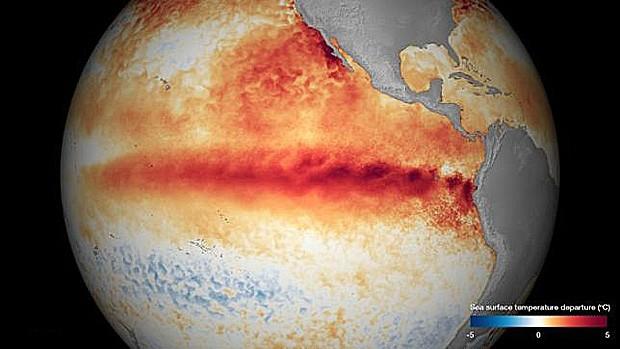 Faixa vermelha mostra desvio de temperaturas médias no Pacífico, ilustrando o El Niño (Foto: NOAA)