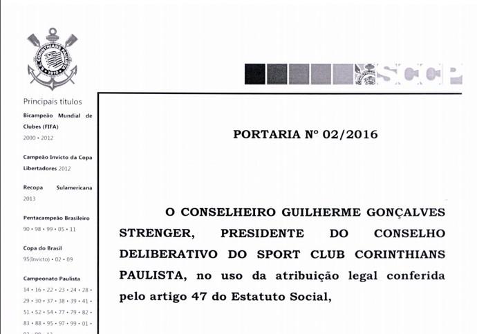 Papel timbrado Corinthians (Foto: Reprodução)