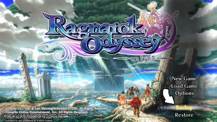 Selecione a opção Backup no Ragnarok Odyssey original (Foto: Reprodução)