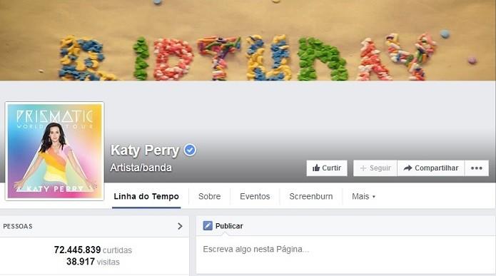 Katy Perry é uma das queridinhas da rede social (Foto: Reprodução/Facebook)