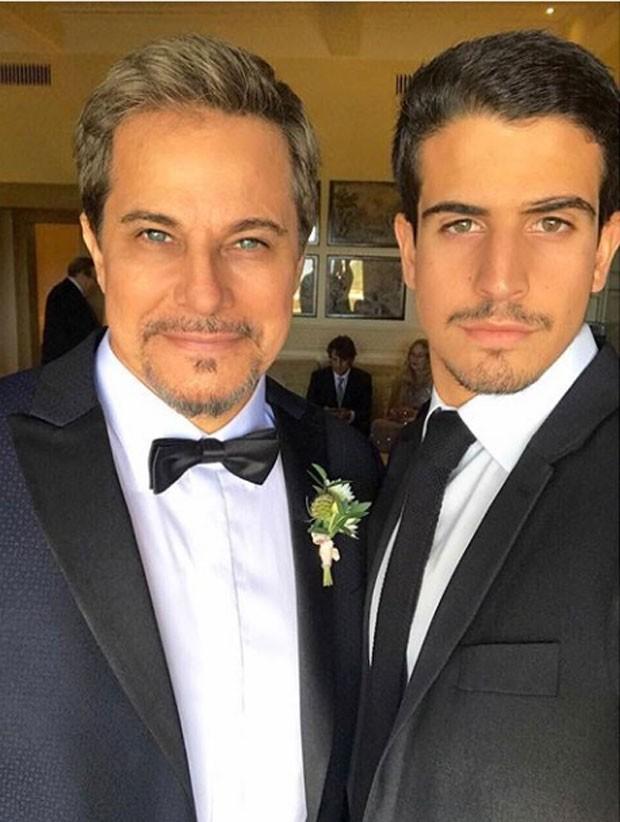 Edson e Enzo Celulari no casamento do ator (Foto: Reprodução Instagram)