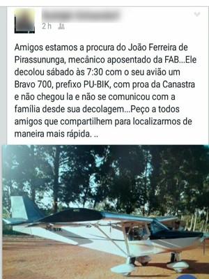 Amigo da família publicou texto pedindo ajuda para encontrar piloto (Foto: Facebook/Divulgação)