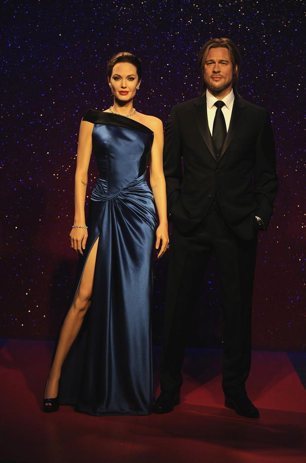 Estátuas de Angelina Jolie e Brad Pitt antes da separação (Foto: Getty Images)