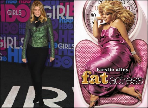 """Kirstie Alley foi tão detonada pela mídia por ter engordado, na década passada, que em 2005 criou uma sitcom só para rir de si mesma: 'Fat Actress' (""""atriz gorda"""") durou só uma temporada, mas foi uma maneira de ela mostrar que não ligava para padrões de beleza. (Foto: Getty Images e Reprodução)"""