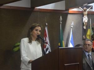 Prefeita Dárcy Vera (PSD) pediu apoio dos vereadores durante cerimônia de diplomação (Foto: Adriano Oliveira / G1)
