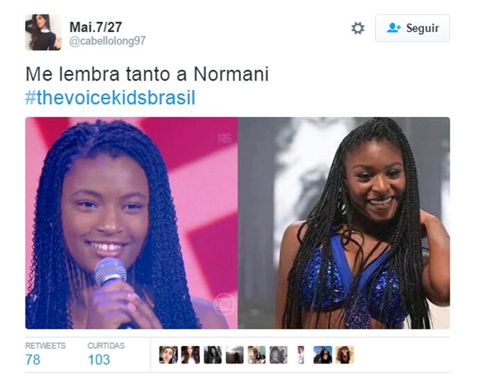 Tweet Malu Cavalcanti x Normani Kordei Fifth Harmony The Voice Kids (Foto: Reprodução Redes Sociais)