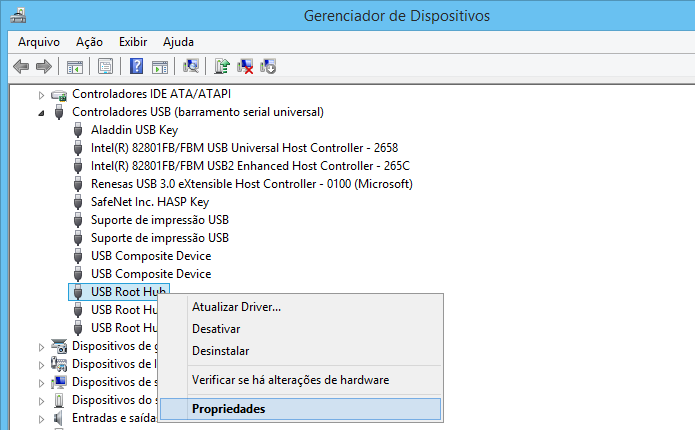 Abra as propriedades da porta USB do computador (Foto: Reprodução/Helito Bijora)