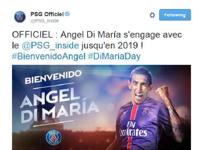 Di Maria é anunciado no PSG (Foto: Reprodução / Twitter)