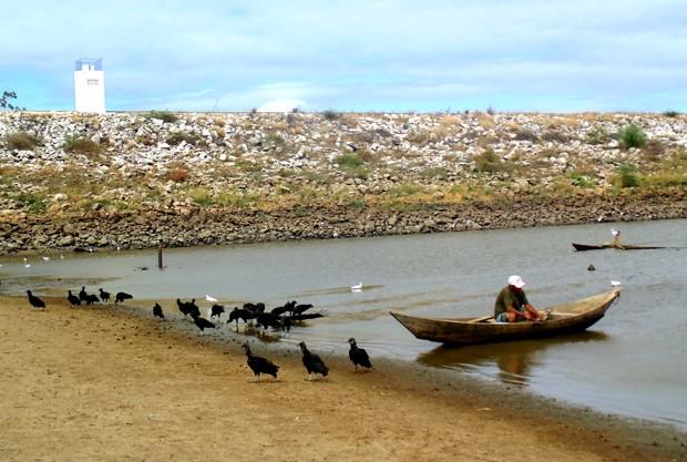 Água do açude Dourado ainda é utilizada para abastecer parte da cidade. Pescadores e urubus tentam aproveitar o pouco que resta (Foto: Anderson Barbosa/G1)