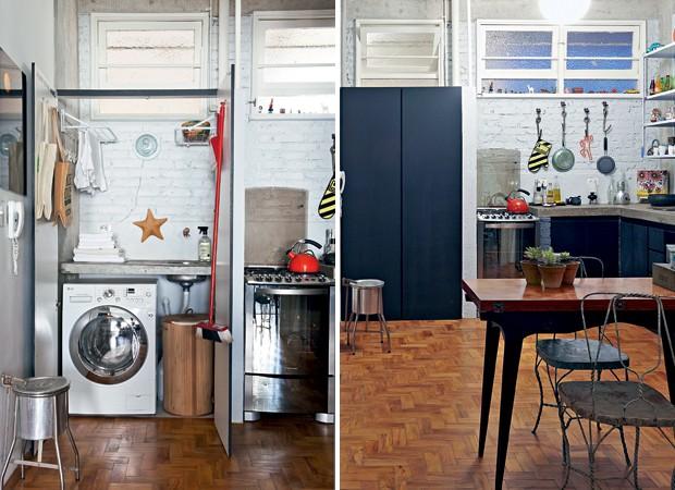 decoracao cozinha e area de servico integradas:Camuflada no armário (Foto: Lufe Gomes e Victor Affaro)