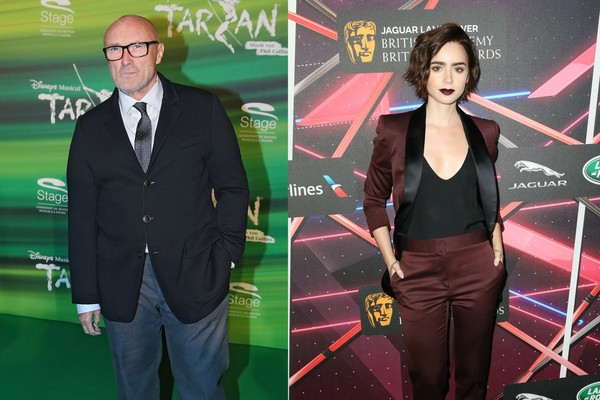 O cantor Phil Collins e sua filha, Lilly Collins (Foto: Getty Images)