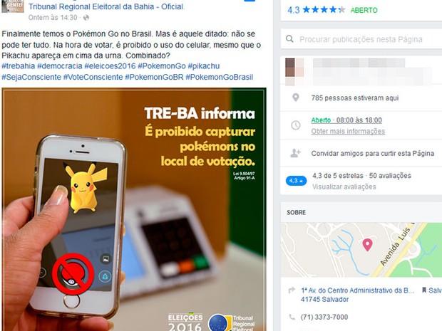 Cartaz de campanha do TRE-BA usa a caça de pokémons para alertar sobre a proibição do uso do celular durante a votação, Bahia (Foto: Reprodução/ TRE-BA)