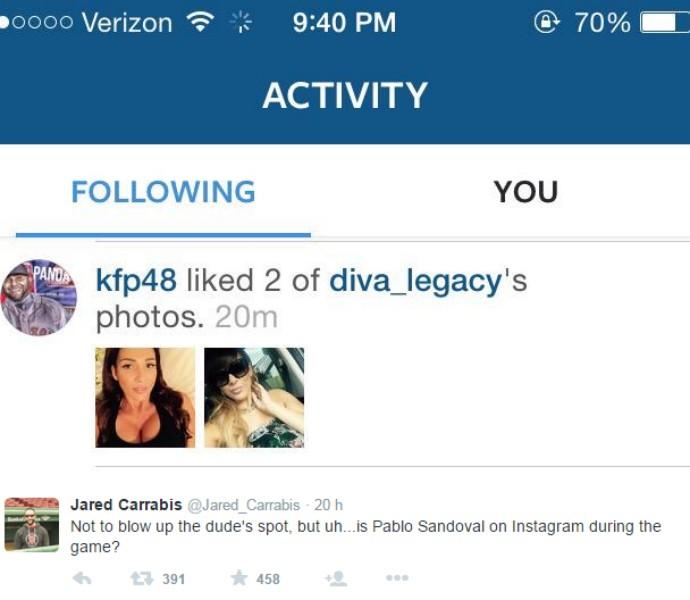 Usuário percebe que Pablo Sandoval curtiu foto de mulher no Instagram durante partida (Foto: Reprodução / Twitter)