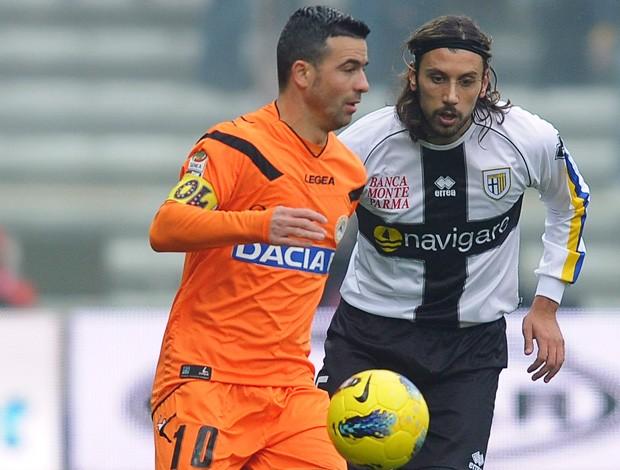 Cristian Zaccardo e Di Natale, Parma x Udinese (Foto: Getty Images)