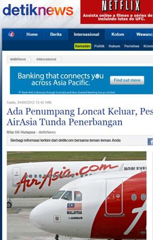 Aviões da Air Asia em foto divulgada na imprensa local (Foto: Reprodução)