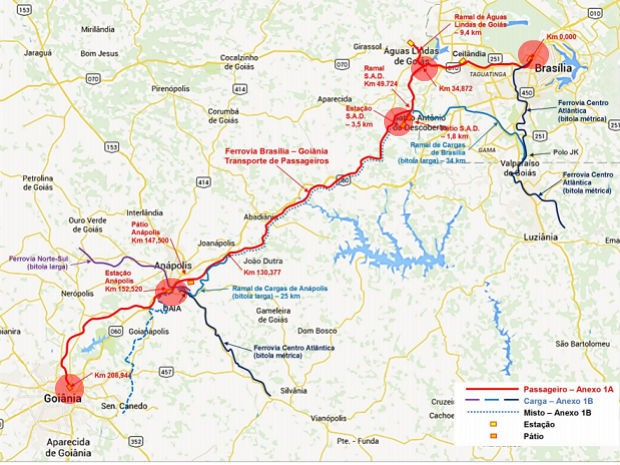 Mapa divulgado pela Agência Nacional de Transportes Terrestres (ANTT) para projeto de ferrovia Brasília-Anápolis-Goiânia; círculos vermelhos marcam estações planejadas (Foto: ANTT/Reprodução)