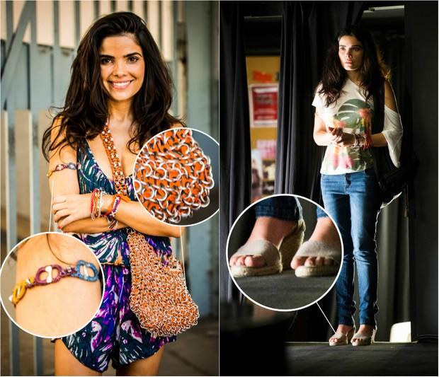 Bonito e barato: Vestidos floridos e leves são usados por Tóia (Vanessa Giácomo). Sandália de corda e acessórios feitos em materiais recicláveis prometem entrar na moda (Foto: TV Globo/Divulgação)