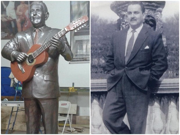 Estátua de Teddy Vieira ficará exposta em praça (Foto: Divulgação/ MIS e Arquivo Pessoal/ Teddy Vieira Filho)