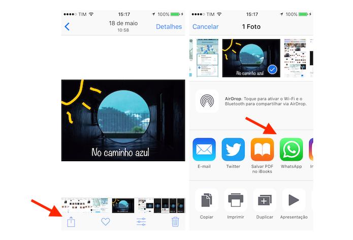 Tela de compartilhamento para fotos editadas a partir do iOS (Foto: Reprodução/Marvin Costa)