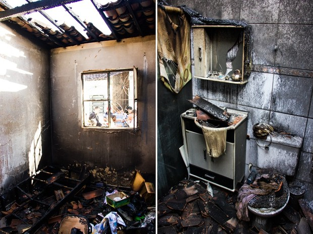 Casa incendiada no bairro Jardim Petrópolis ficou completamente destruida (Foto: Jonathan Lins/G1)