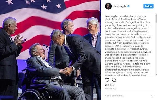 O post da atriz Heather Lind acusando o ex-presidente dos EUA George H. W. Bush de assédio (Foto: Instagram)