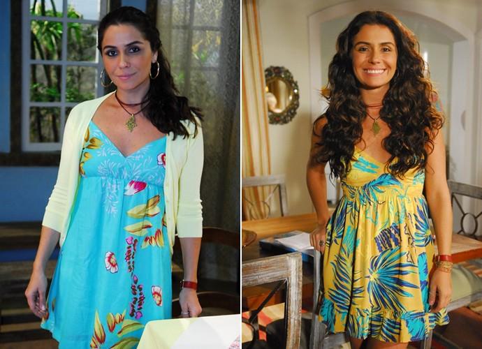 Giovanna Antonelli com os looks da personagem de Viver a Vida (Foto: Renato Rocha Miranda / João Miguel Júnior / TV Globo)