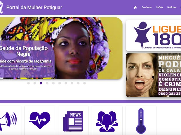 Site destaca Ligue 180, disque-denúncia nacional da Central de Atendimento à Mulher (Foto: Reprodução/Portal da Mulher Potiguar)