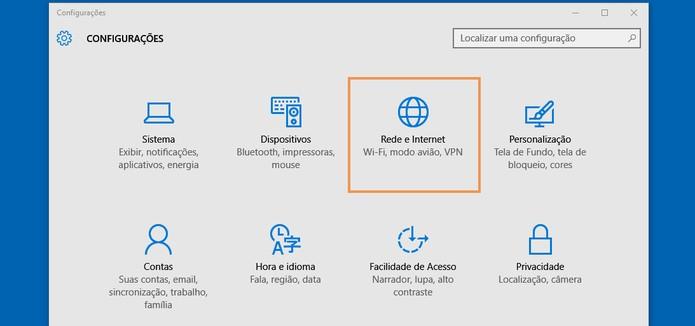 Clique no botão de rede e Internet nas configurações (Foto: Reprodução/Barbara Mannara)