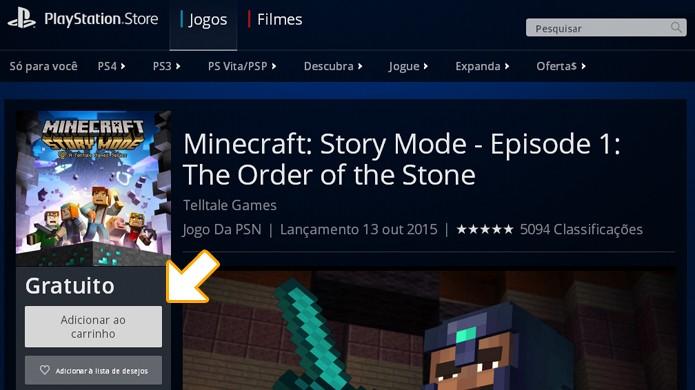 Coloque Minecraft: Story Mode no seu carrinho, pois a compra terá custo de R$ 0,00 (Foto: Reprodução/Rafael Monteiro)