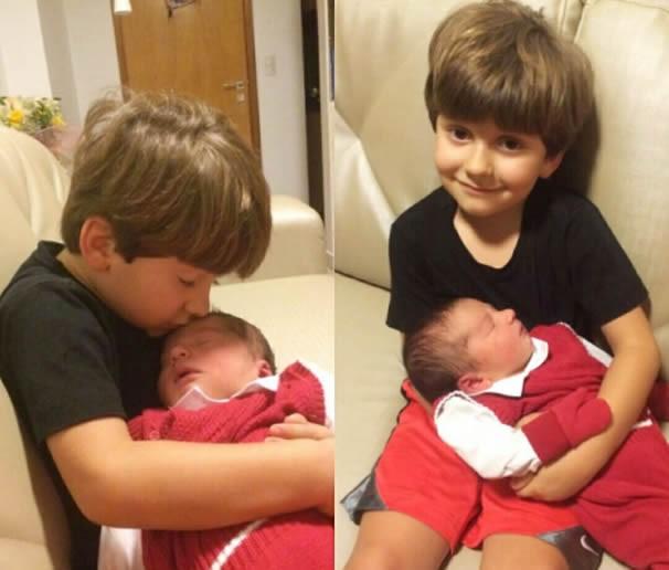 Bernardo recebeu o irmãozinho com muita alegria. (Foto: Arquivo Pessoal)