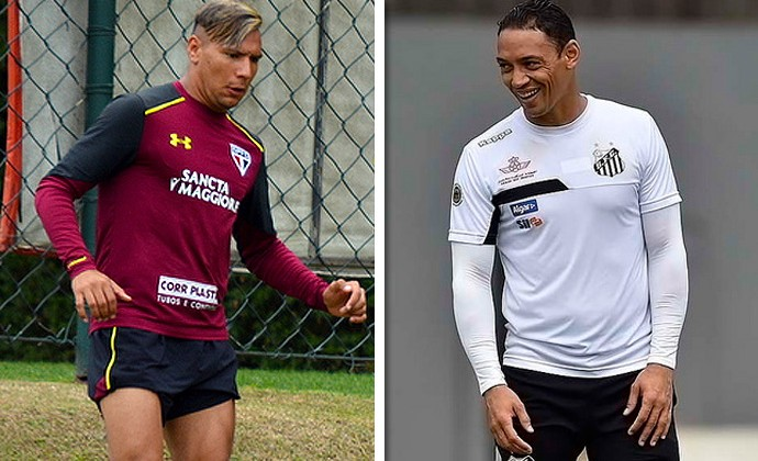 Chavez (São Paulo) e Ricardo Oliveira (Santos) 300 (Foto: GloboEsporte.com)